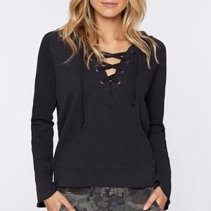 Sanctuary Black Lace Up Hoodie Flare Sleeves Shirt
